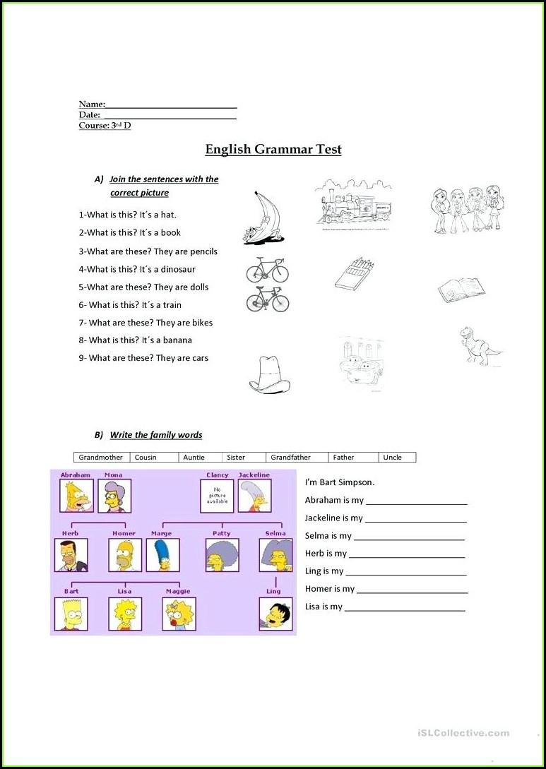 Grammar 3rd Grade English Worksheets