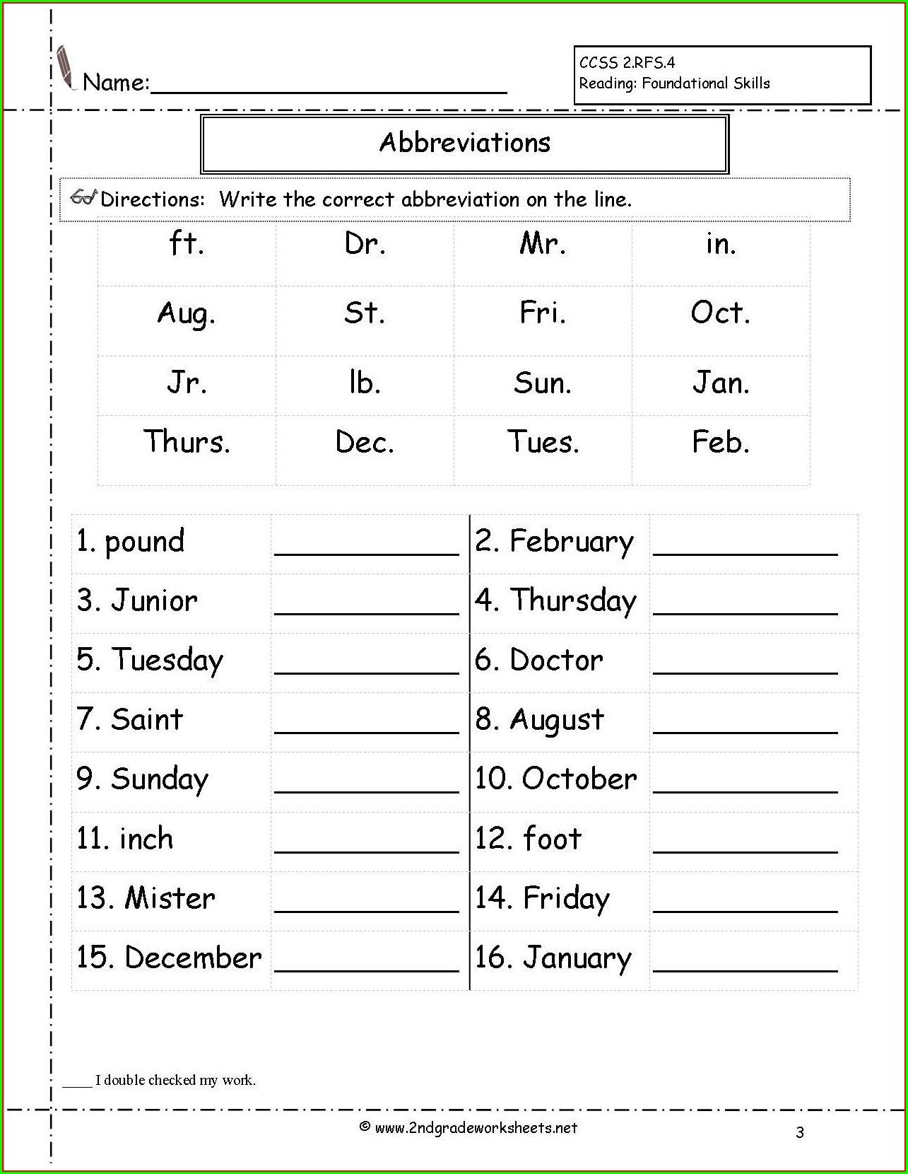 Grammar Free Printable 3rd Grade Worksheets