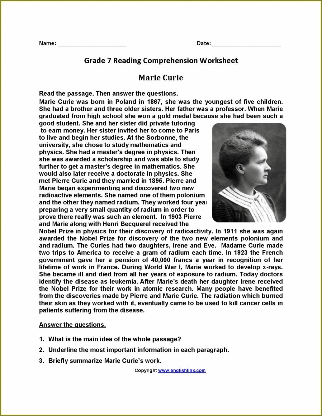 Grammar Grade 7 English Worksheets With Answers