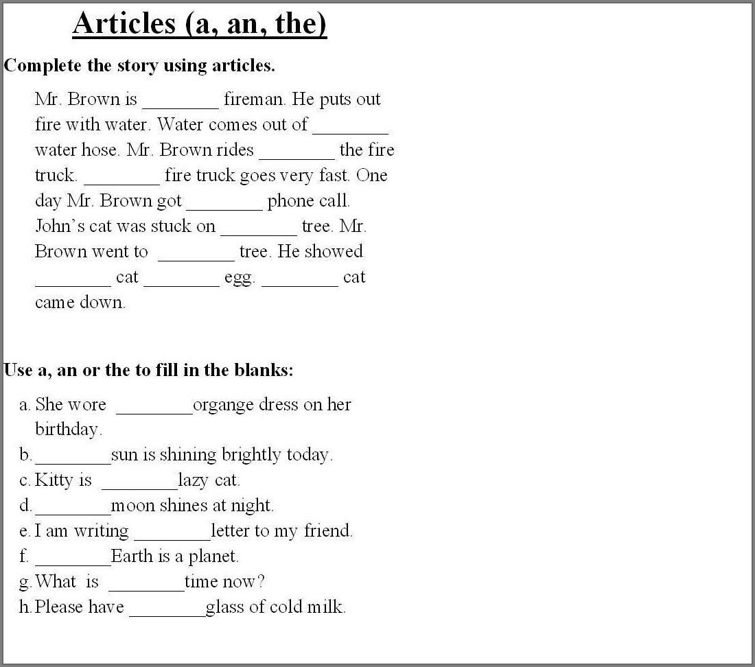 Grammar Worksheet English Year 2