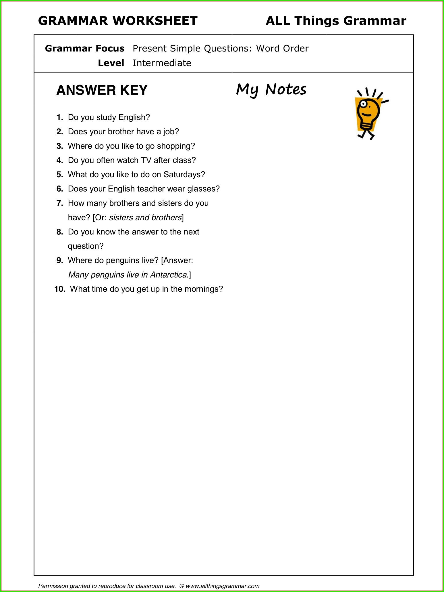 Grammar Worksheet Present Simple Questions Word Order