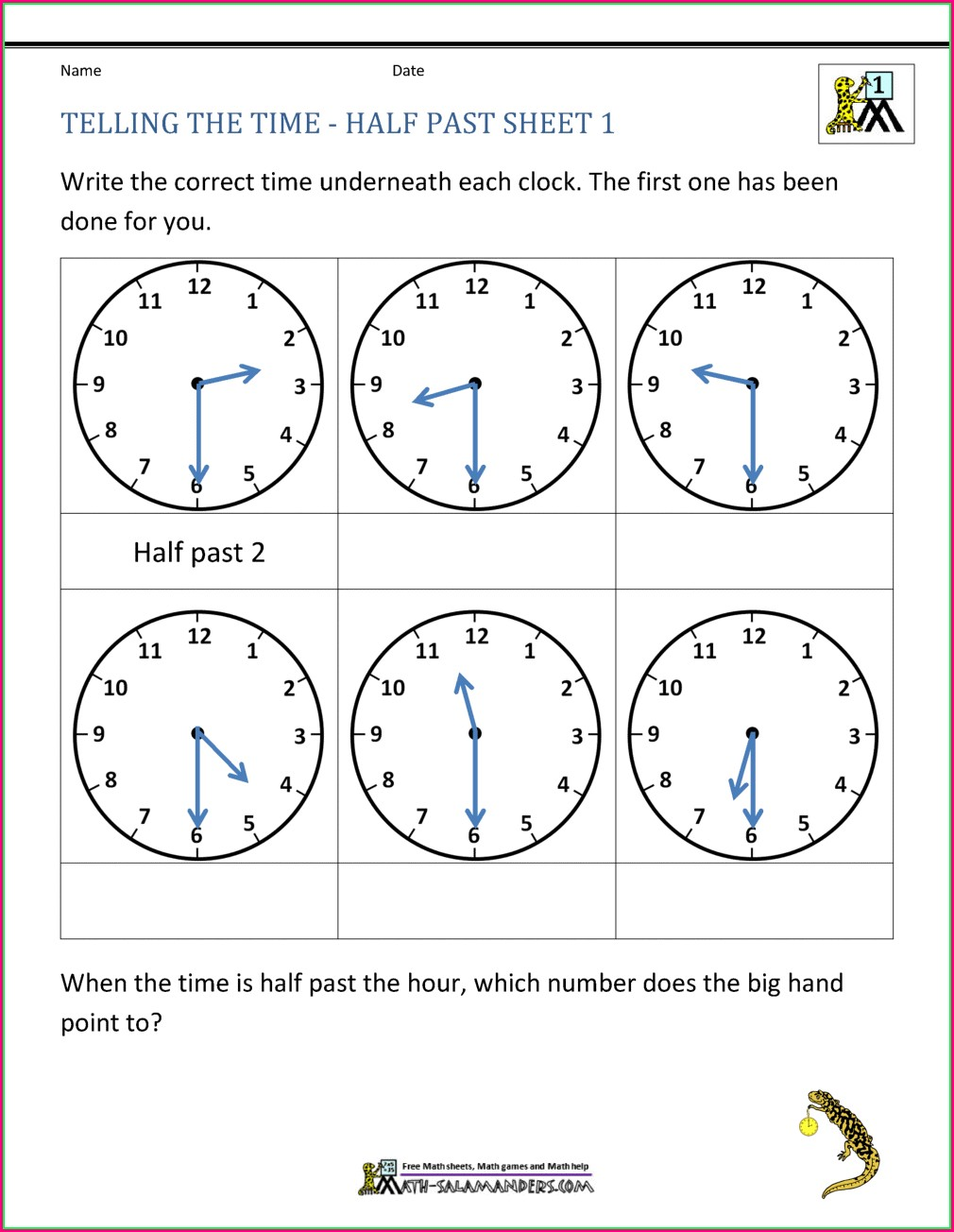 Half Hour Telling Time Worksheets Grade 1