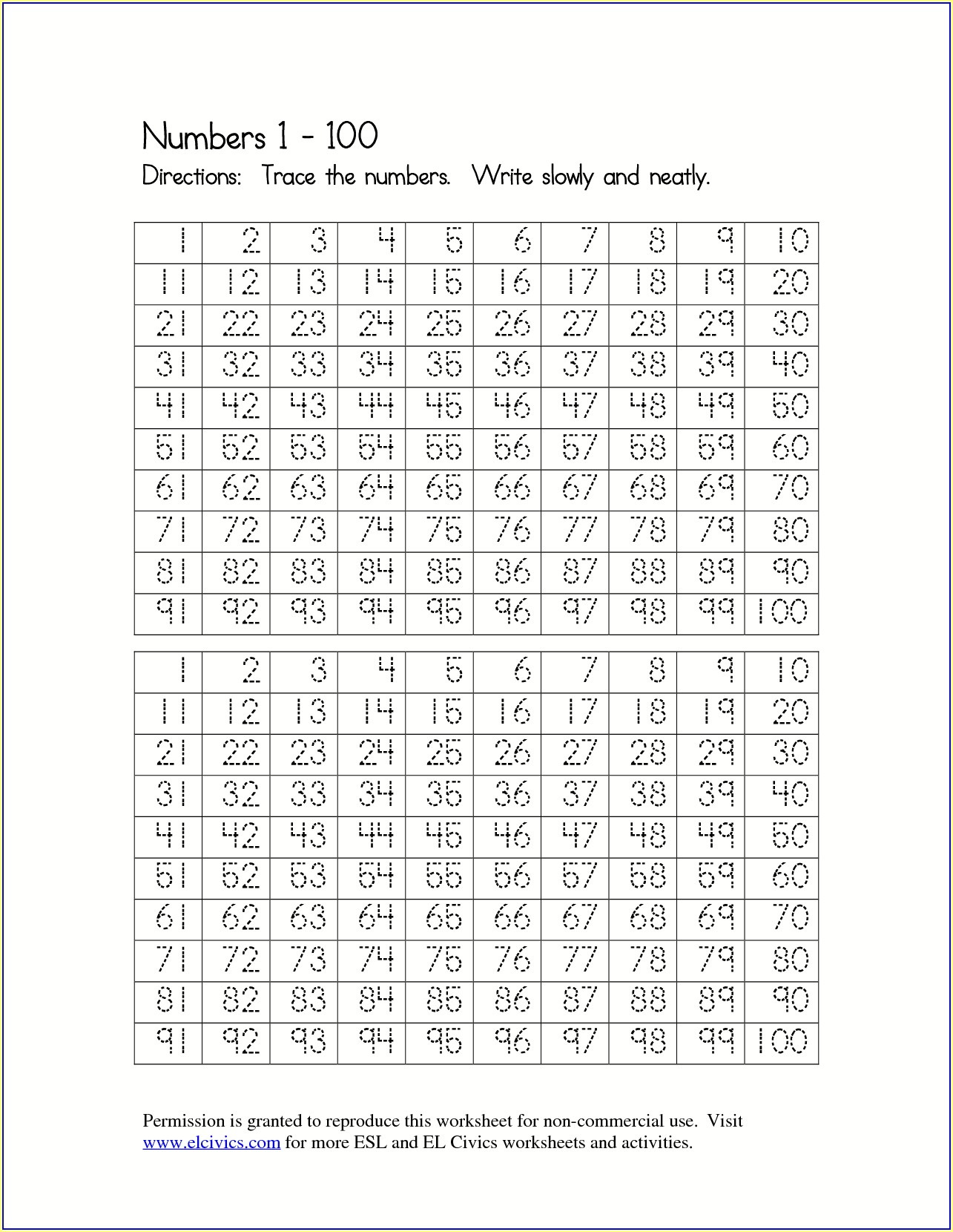 Handwriting Sheet Number Tracing Worksheets 1 100