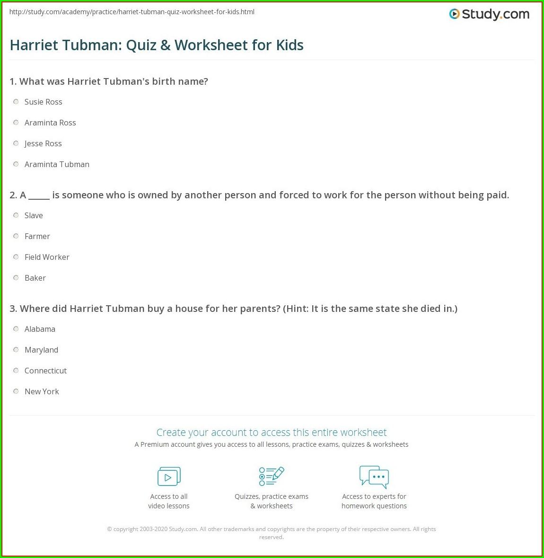 Harriet Tubman Timeline Worksheet Answers Worksheet