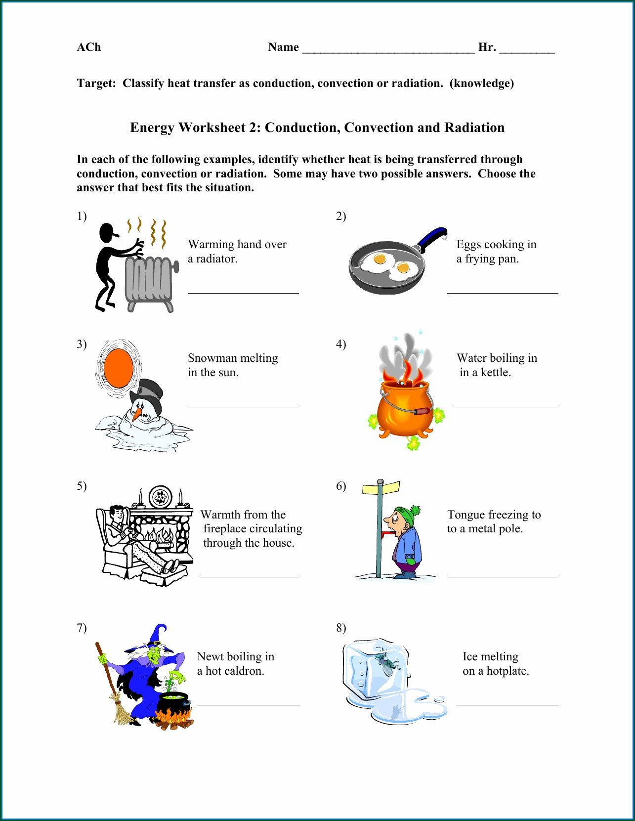 Heat Energy 3rd Grade Worksheets