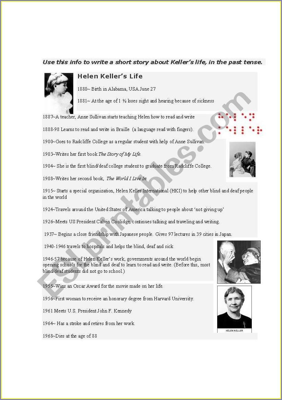 Helen Keller Timeline Worksheet