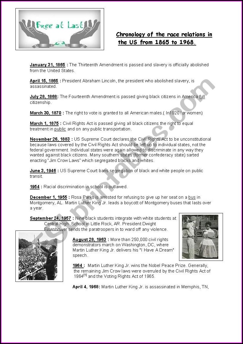 High School Civil Rights Timeline Worksheet