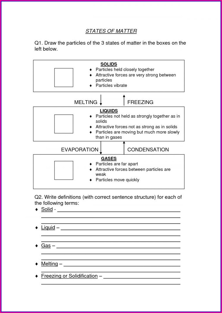 High School Science Worksheet