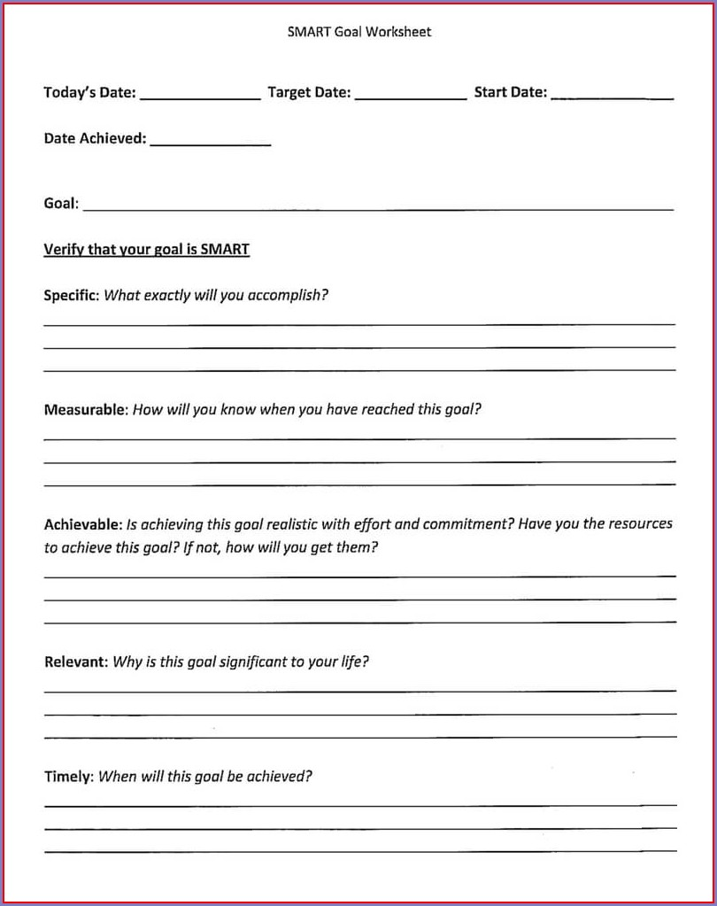 High School Smart Goals Worksheet