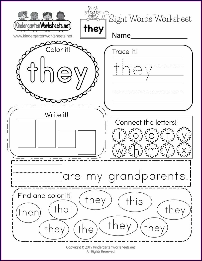 His Sight Word Worksheet Free