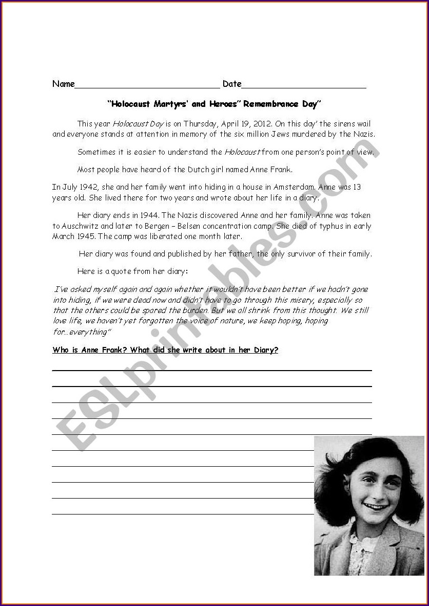 Holocaust Reading Comprehension Worksheet Answers