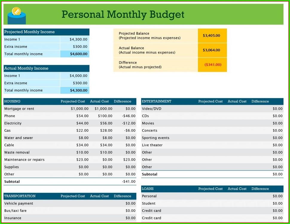 Home Improvement Budget Worksheet