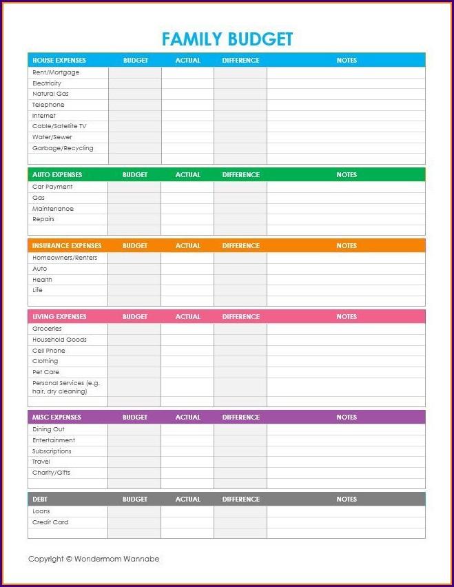 Household Budget Blank Weekly Budget Worksheet Printable