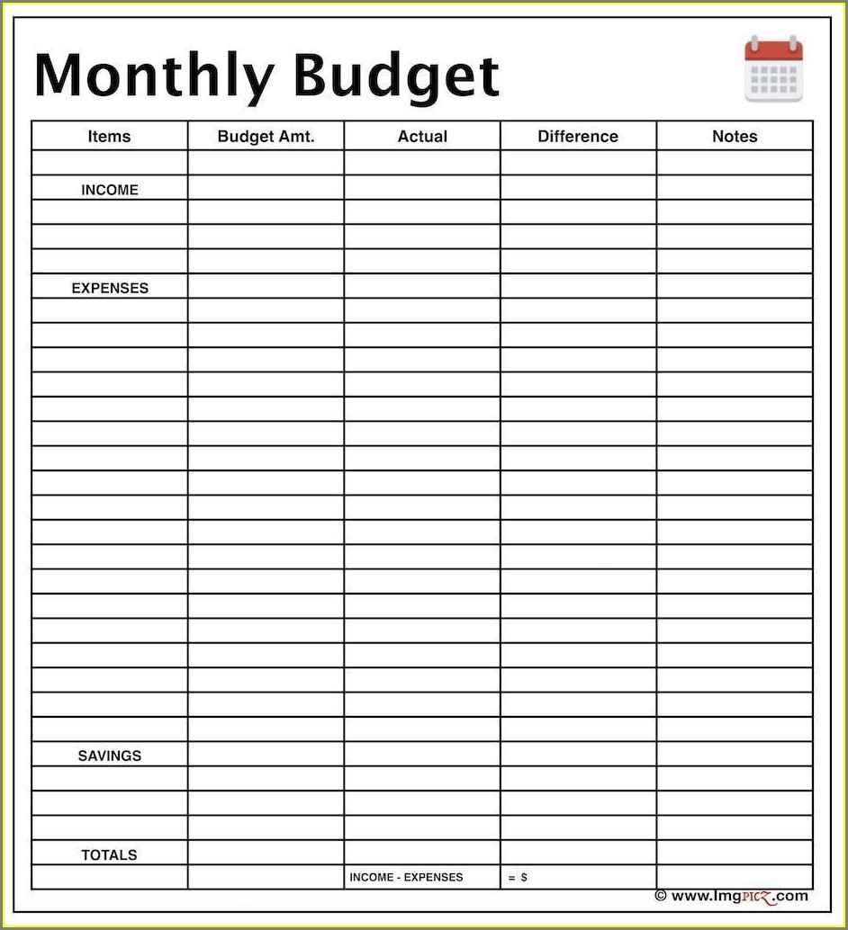 Household Budget Free Blank Budget Worksheet Printable