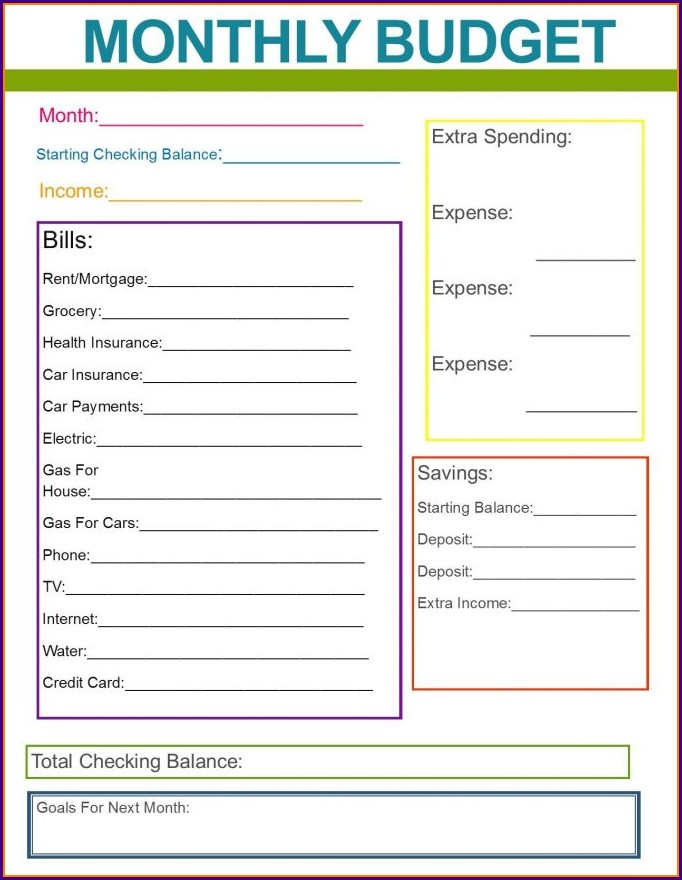 Household Budget Printable Household Budget Budget Worksheet Pdf
