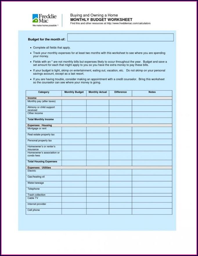 Household Budget Worksheet Canada