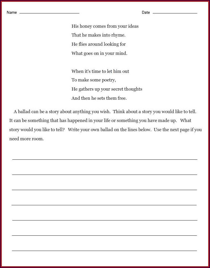 How To Write A Ballad Poem Worksheet Pdf