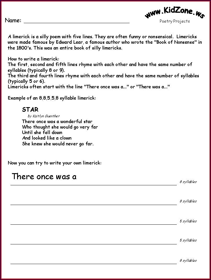 How To Write A Limerick Poem Worksheet