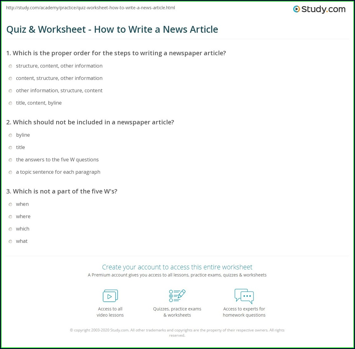 How To Write A News Article Worksheet