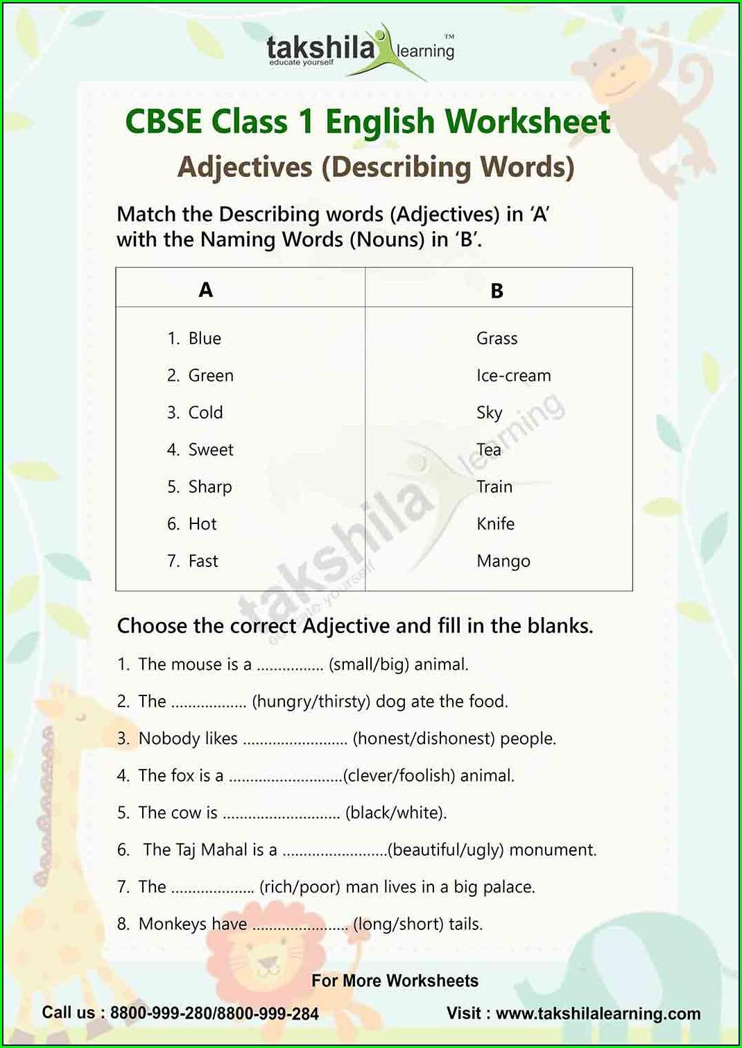 Icse Class 2 English Worksheet Pdf