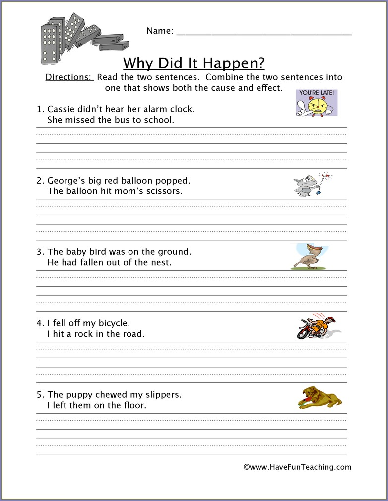 Identifying Cause And Effect Worksheet Grade 3