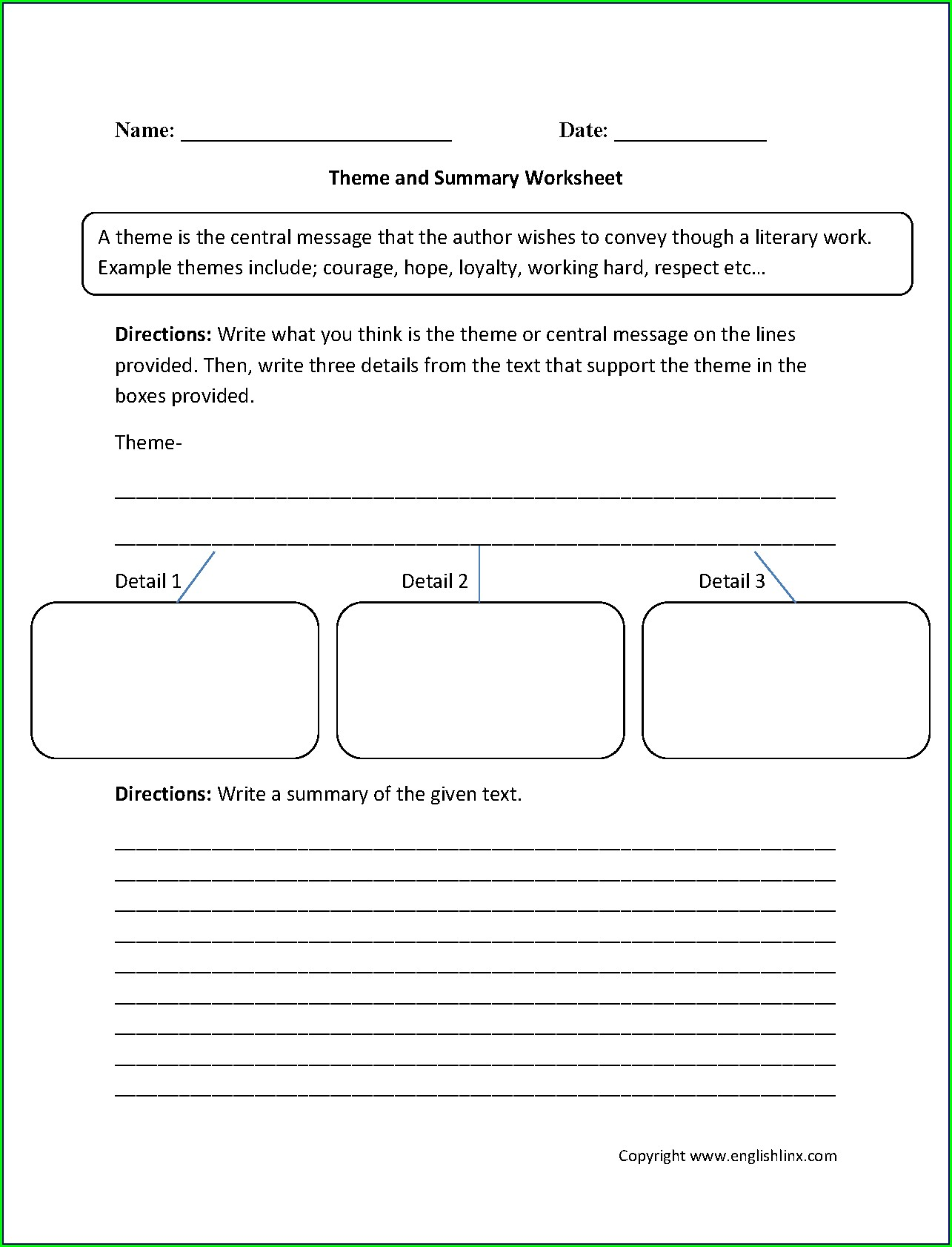 Identifying Theme Worksheets High School
