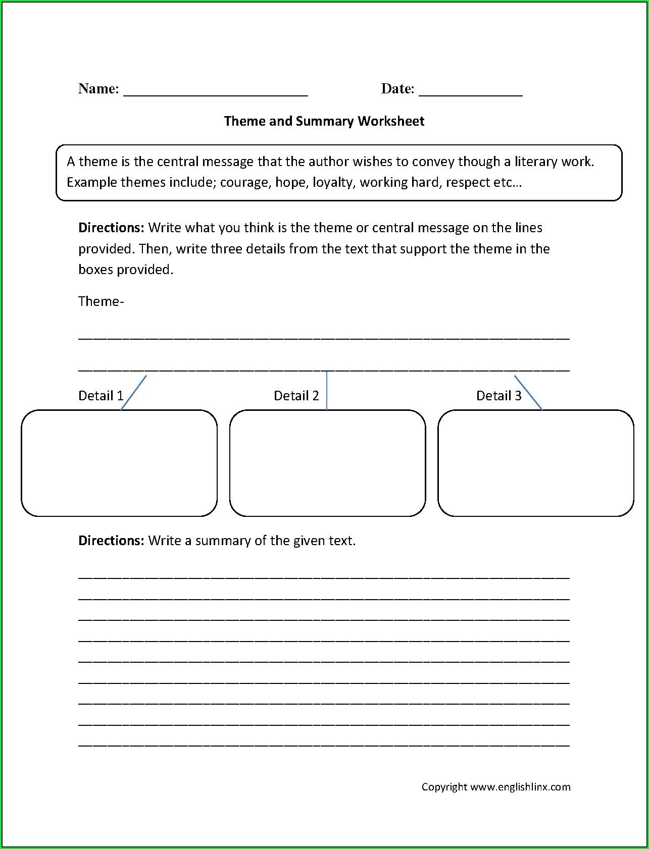 Identifying Theme Worksheets High School