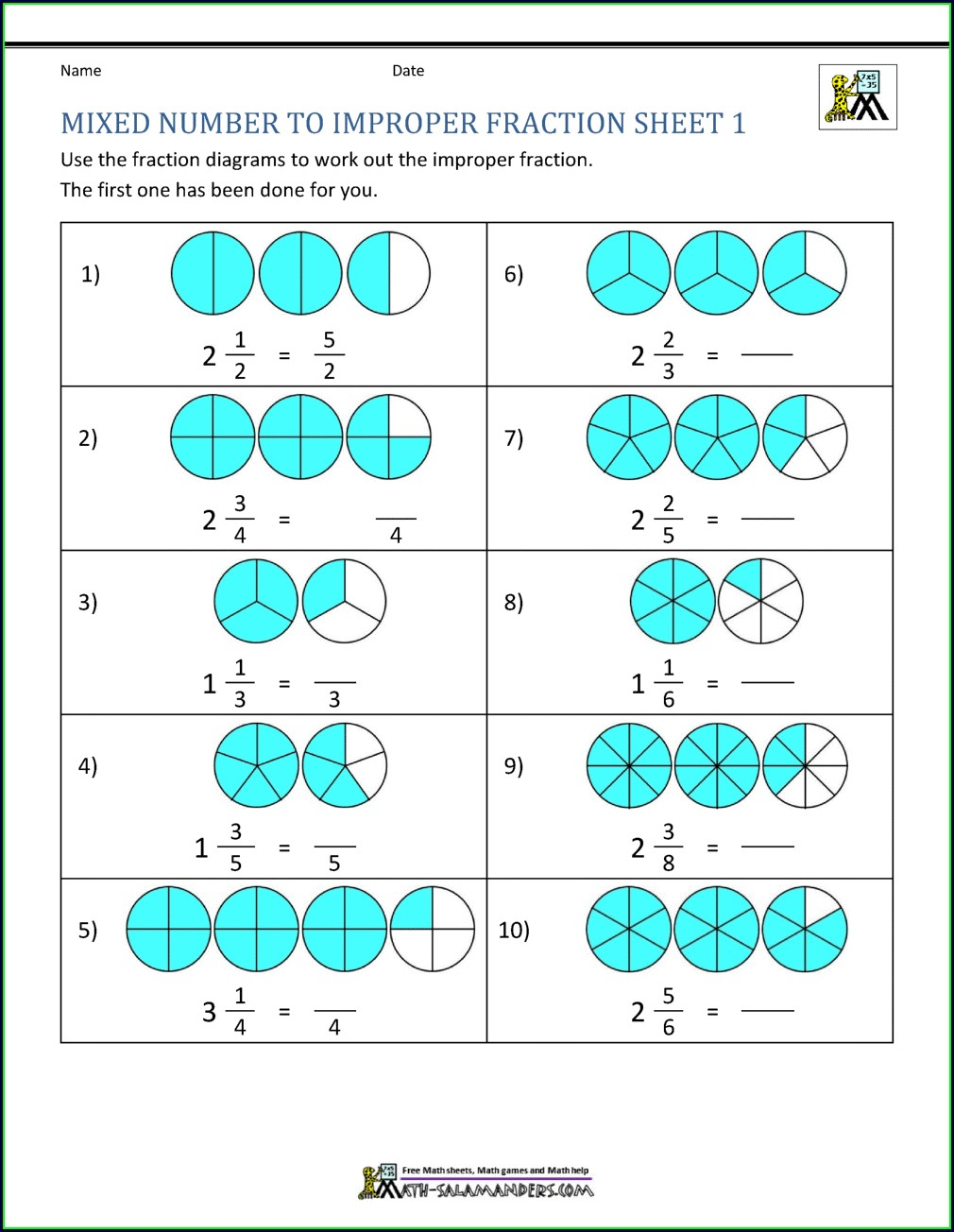 Improper Fractions To Mixed Numbers Visual Worksheet