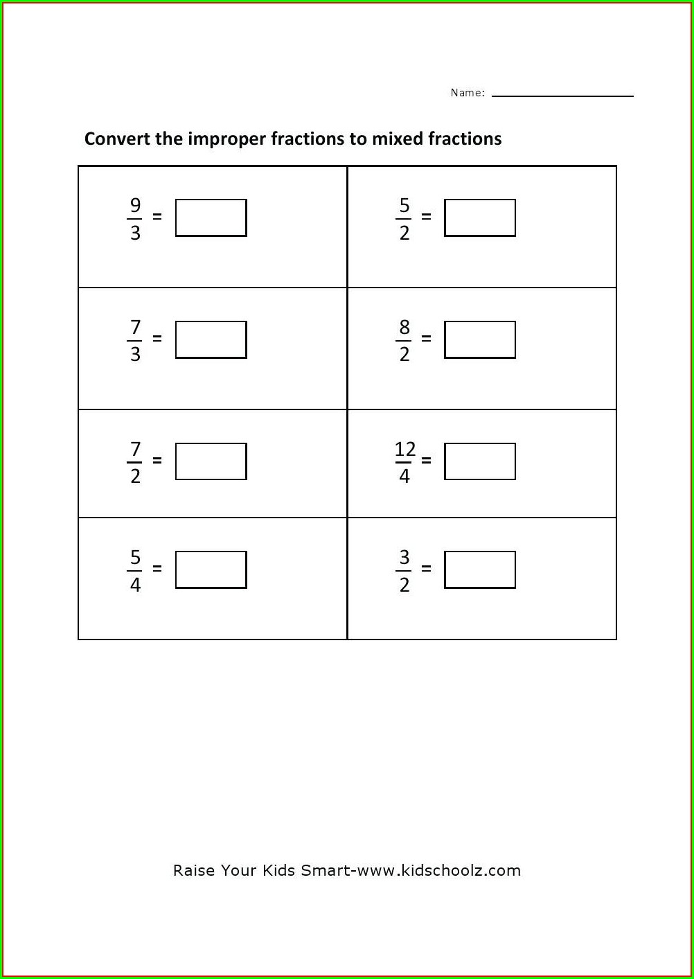 Improper Fractions To Mixed Numbers Worksheet Pdf