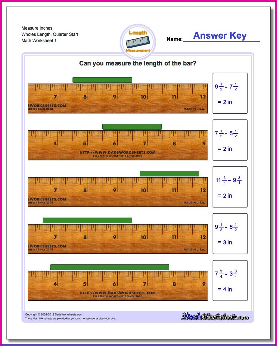 Inch Reading A Ruler Worksheet Answers
