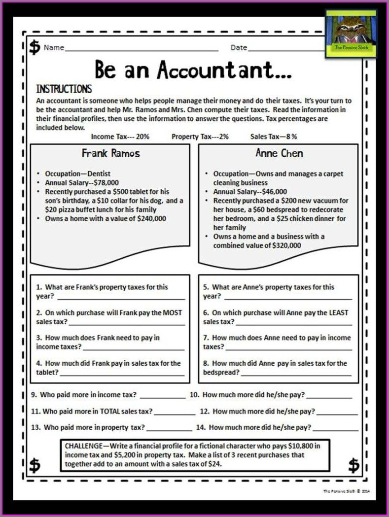 Income Tax Worksheet For Students
