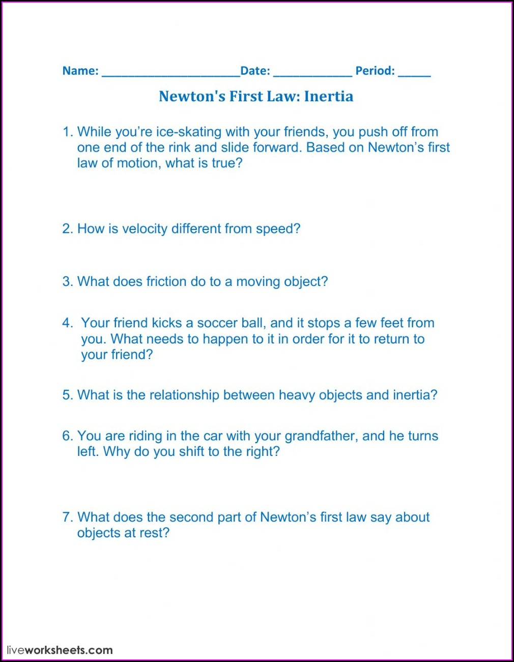 Inertia Worksheet Middle School