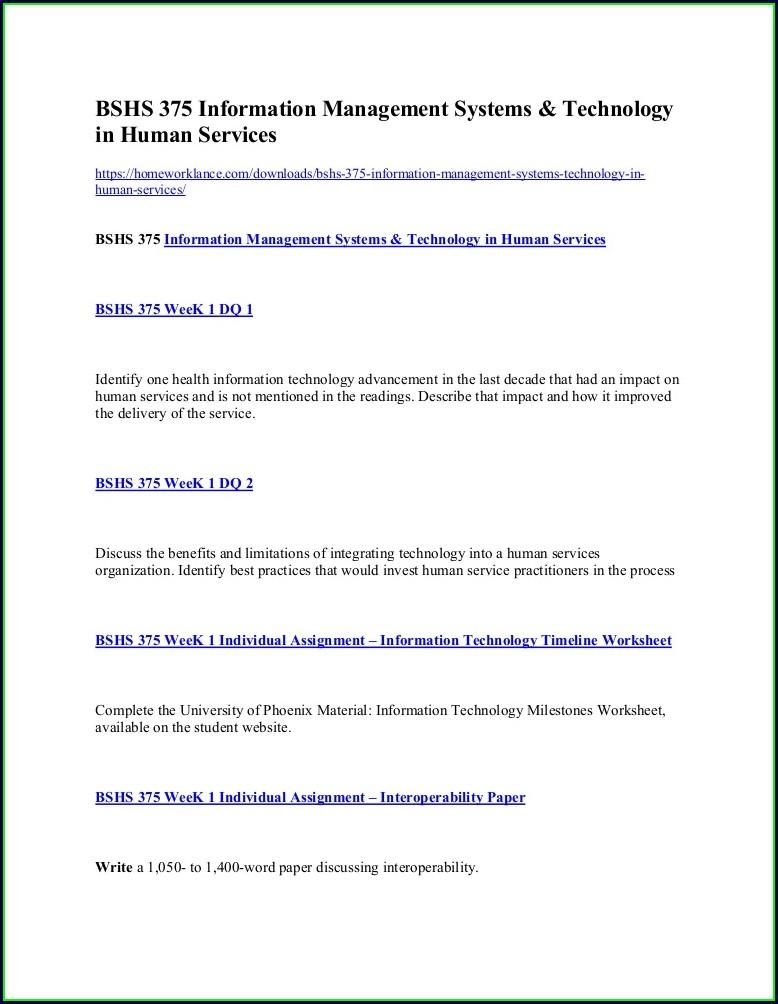 Information Technology Timeline Worksheet Bshs 375