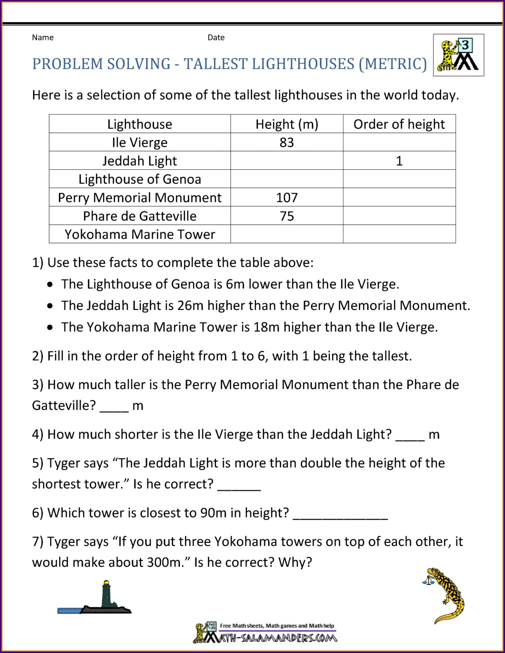 Integer Word Problems Worksheet 7th Grade Answers