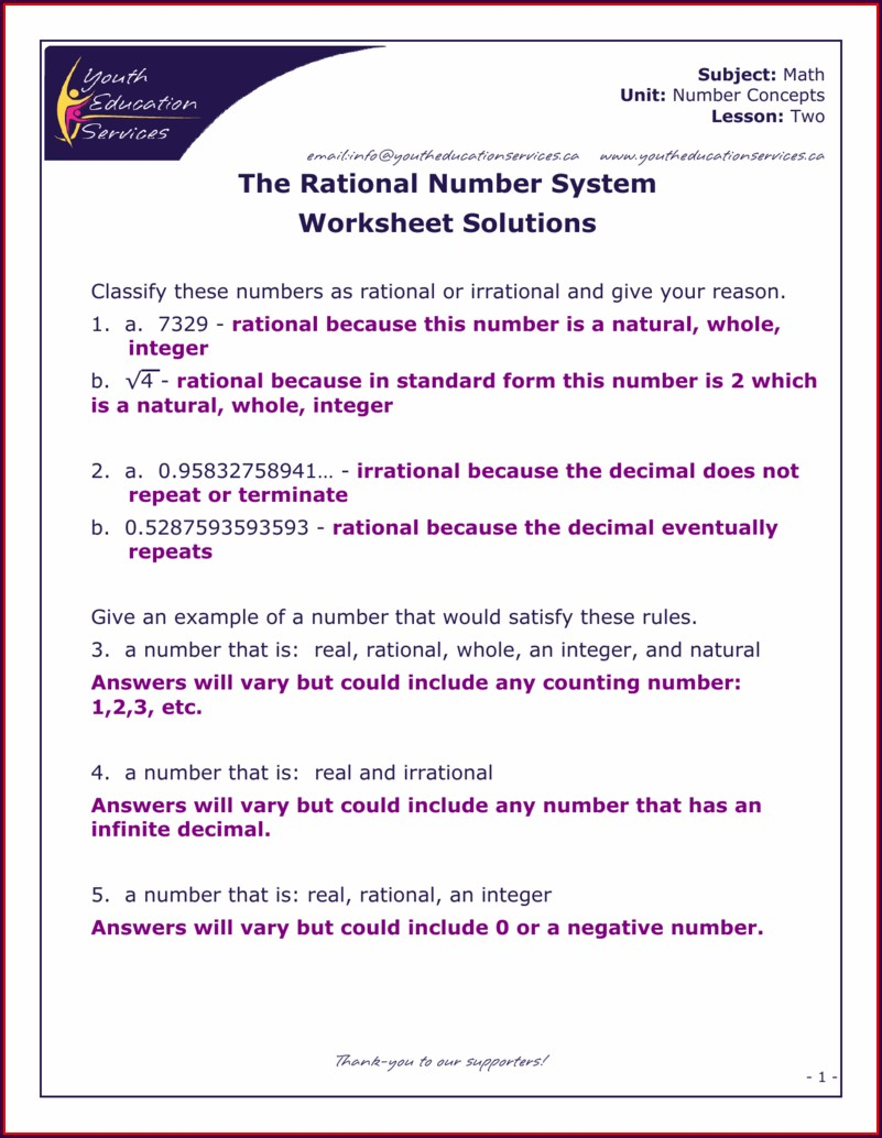 Integers And Rational Numbers Worksheet Answers