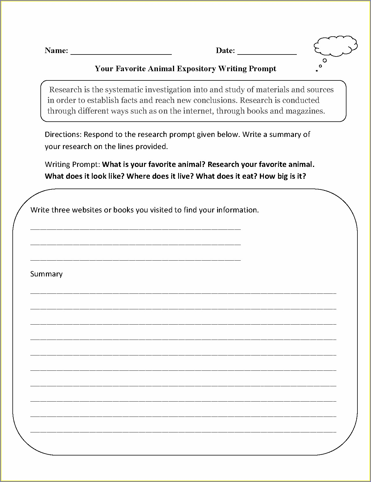 Internet Research Worksheet Middle School