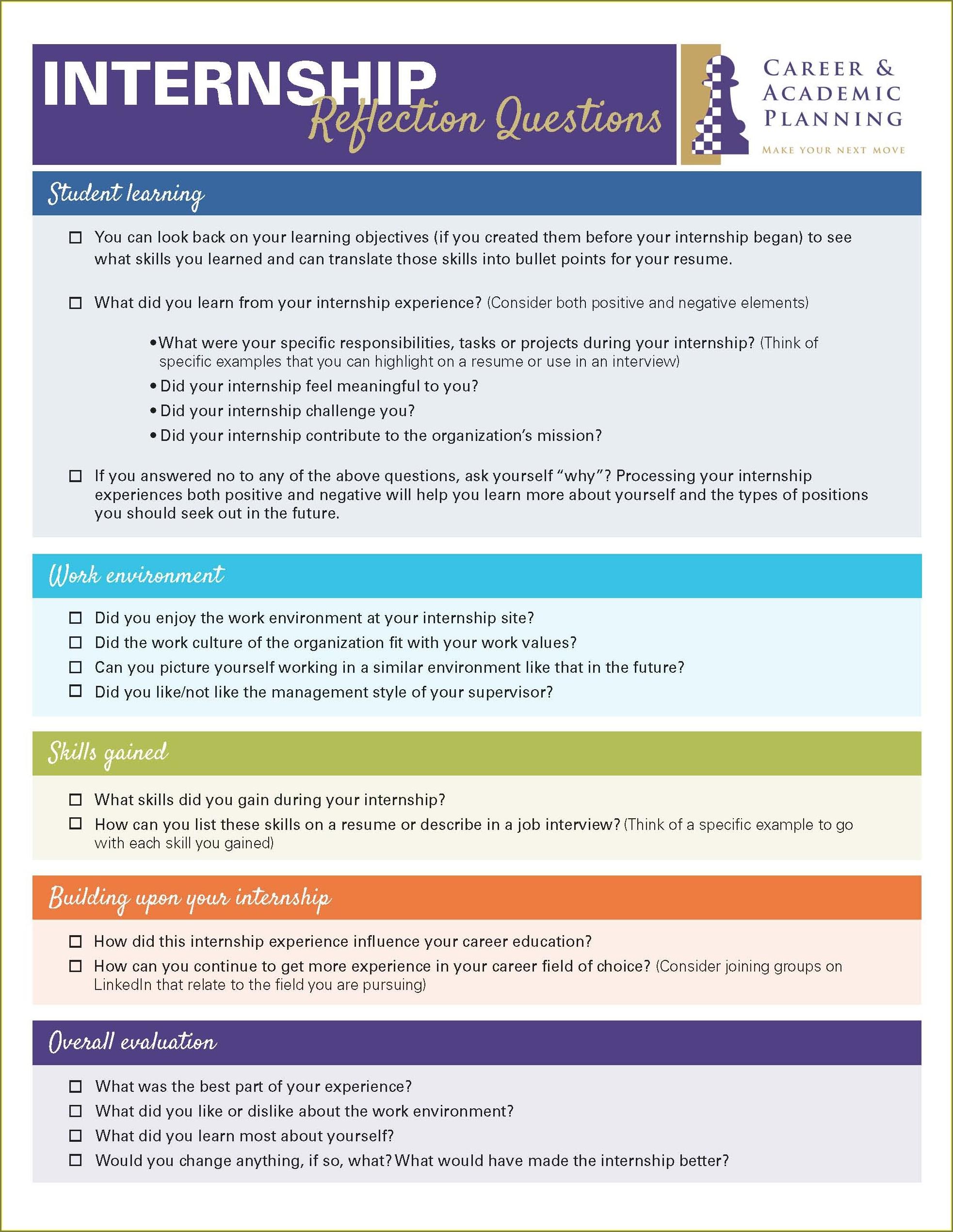 Internship Goal Setting Worksheet