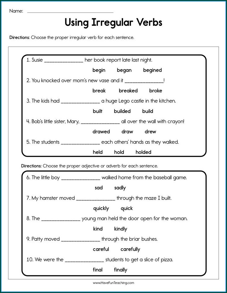 Irregular Verbs Worksheet For Third Grade