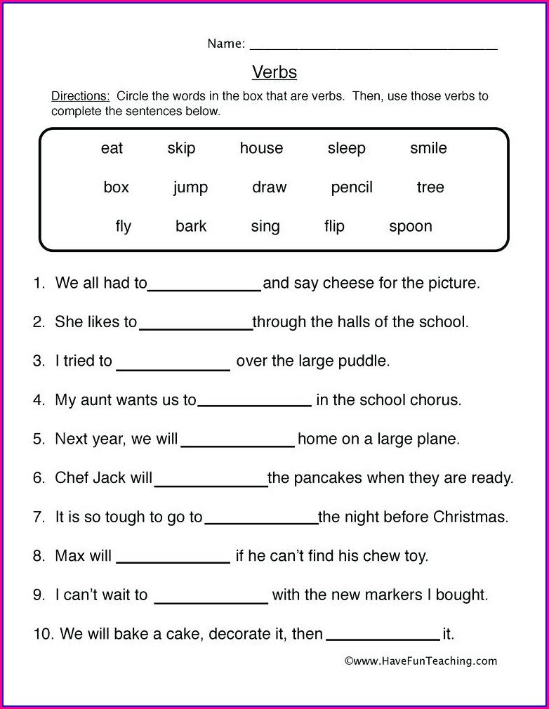 Irregular Verbs Worksheets For Fifth Grade