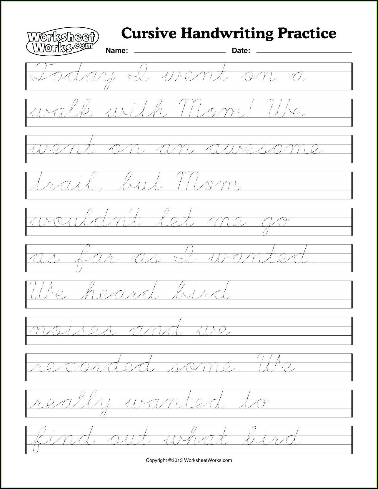 K12reader Cursive Writing Worksheet