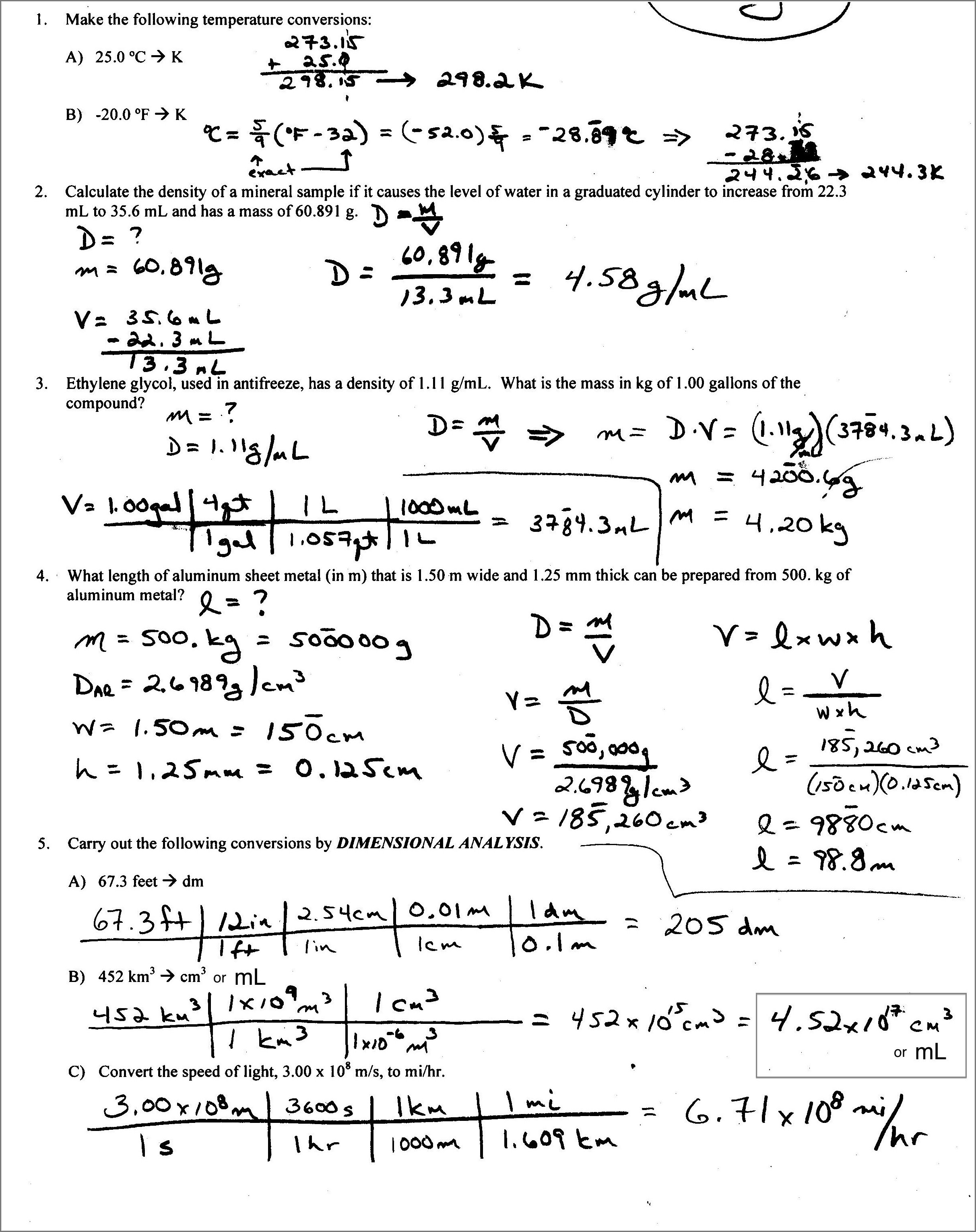 Key Density Practice Problem Worksheet