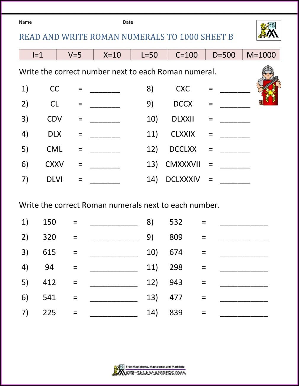 Key Stage 2 Roman Numerals Worksheet