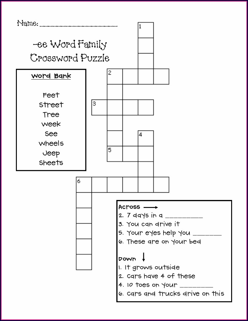 Kindergarten Ee Word Family Worksheets