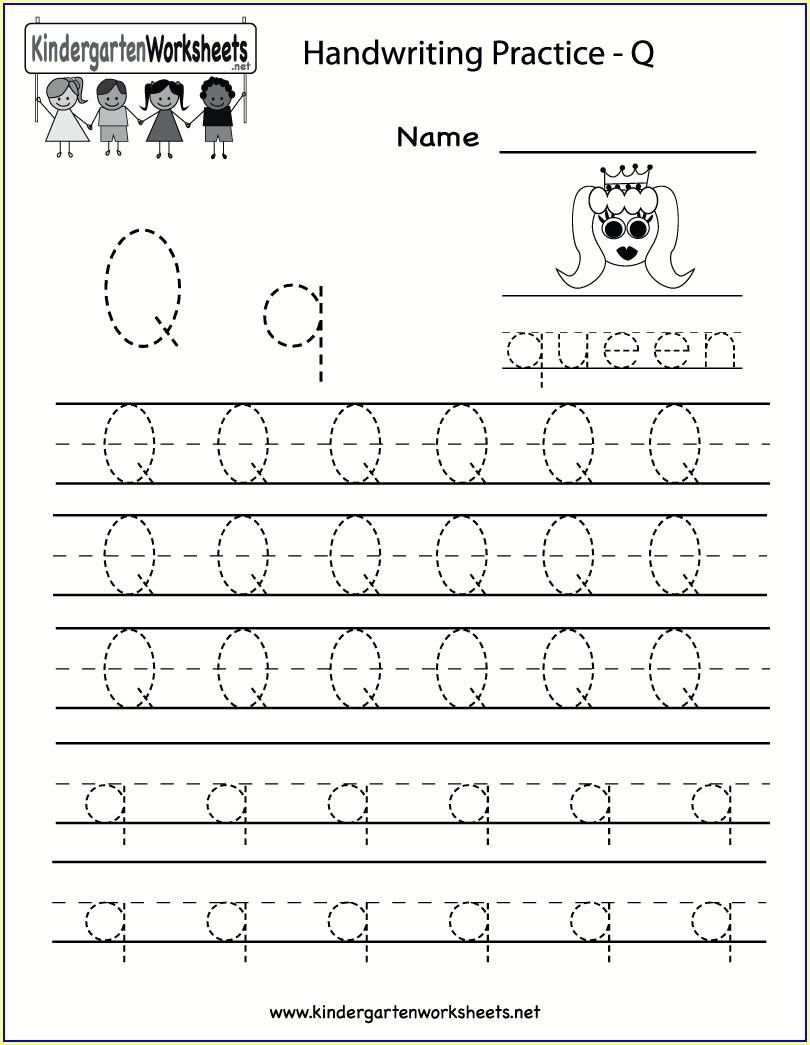 Kindergarten Letter Qq Worksheet