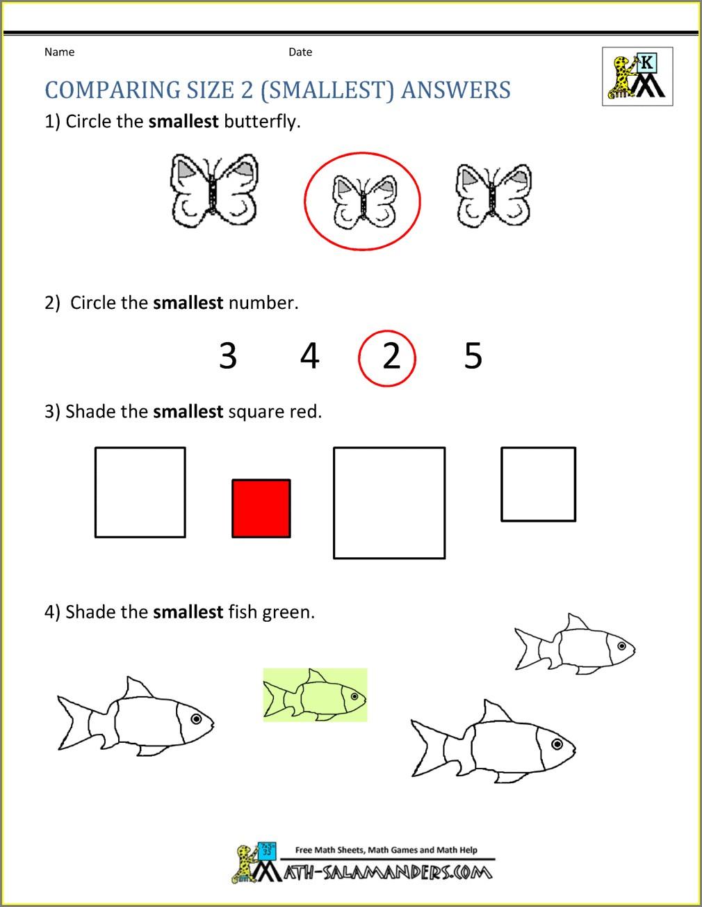 Kindergarten Math Worksheets Numbers