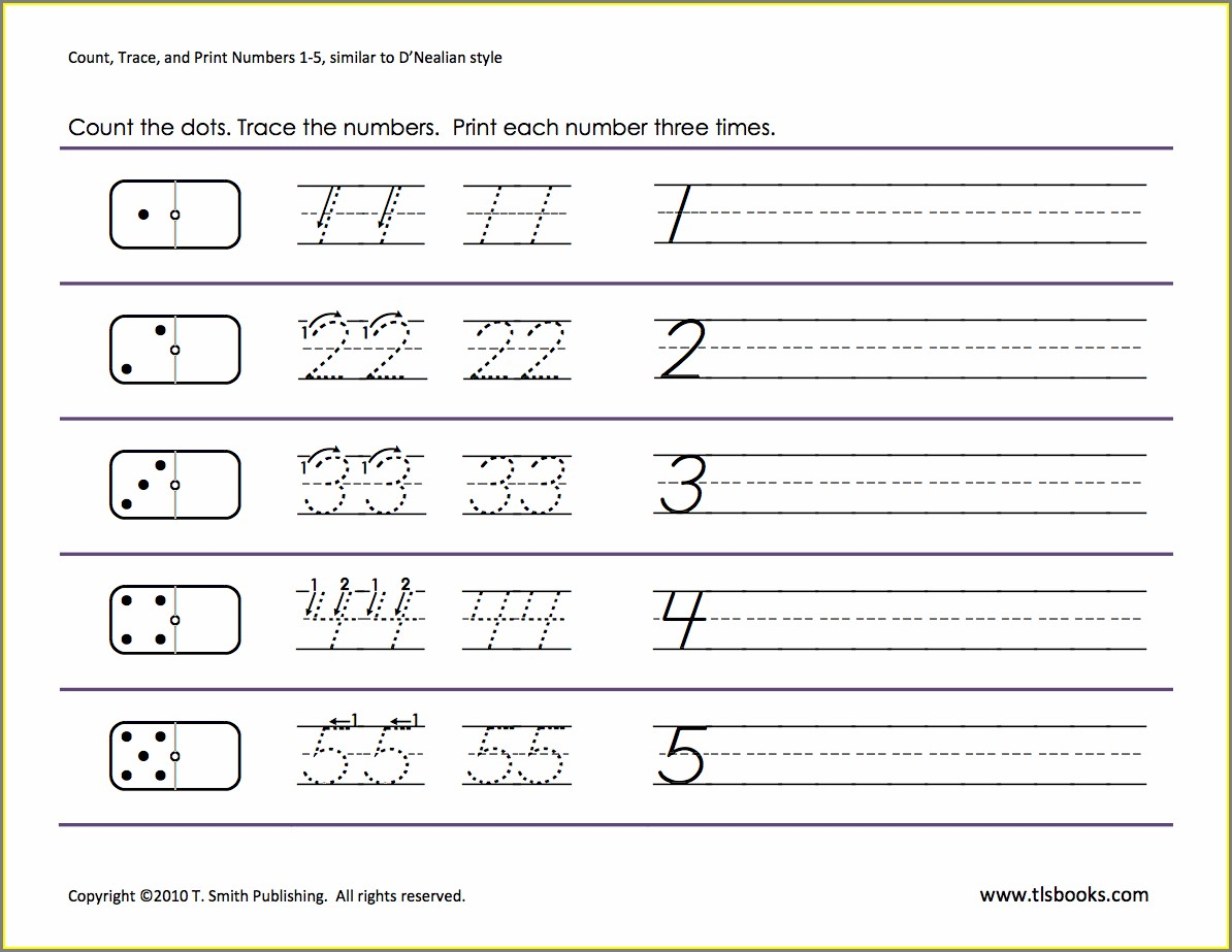 Kindergarten Math Worksheets Tracing Numbers