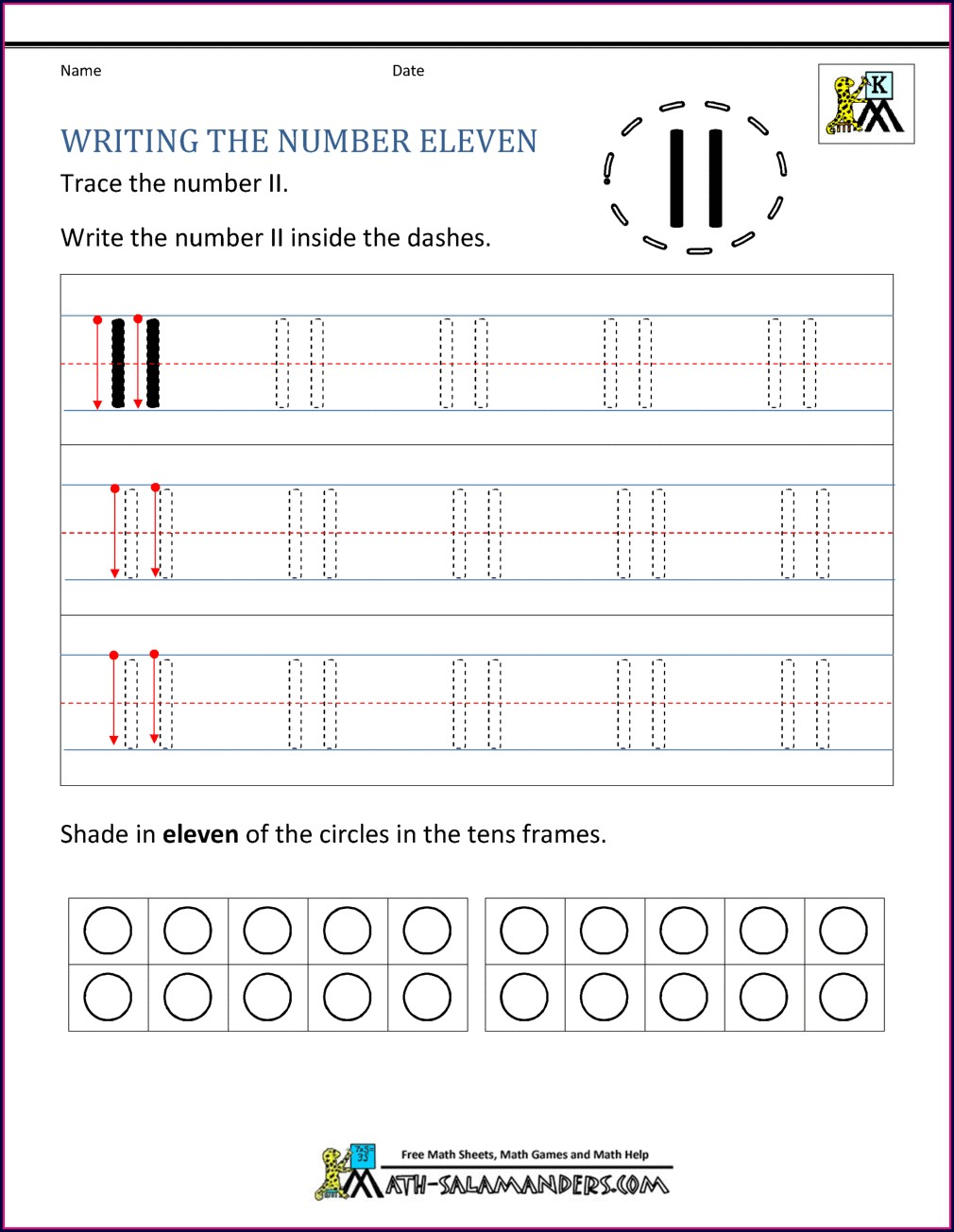 Kindergarten Number Tracing Worksheets 11 20