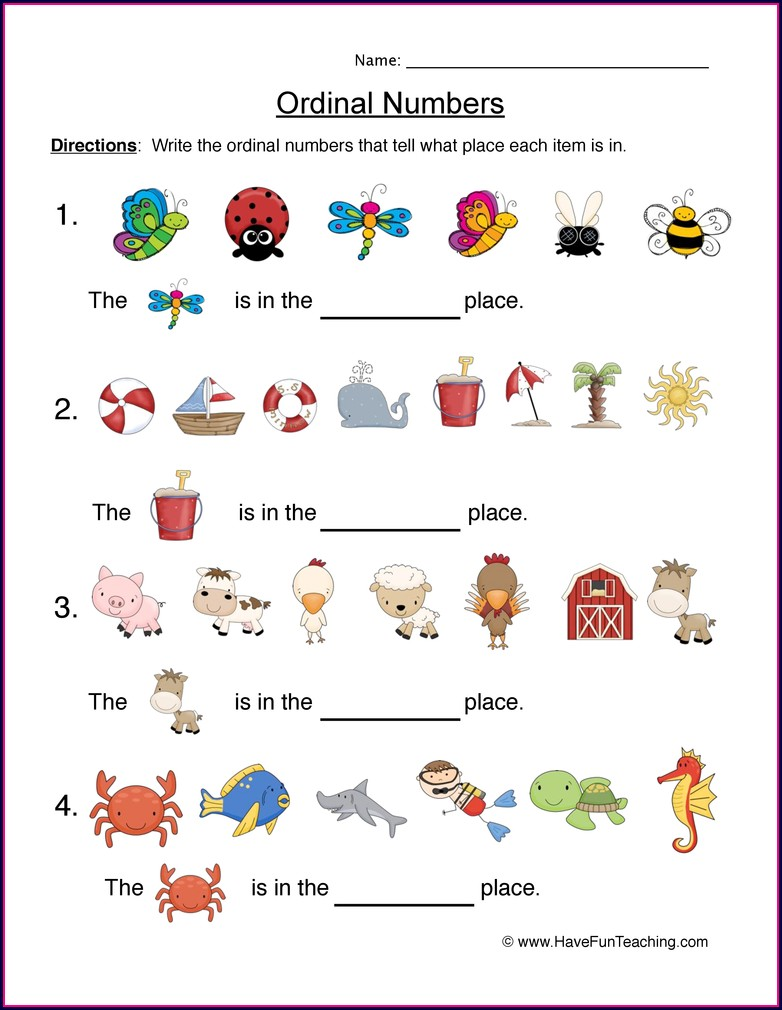 Kindergarten Ordinal Numbers Worksheet Pdf
