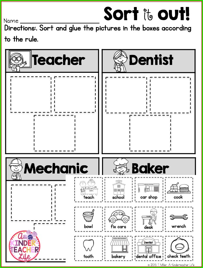 Kindergarten Preschool Community Helpers Worksheets