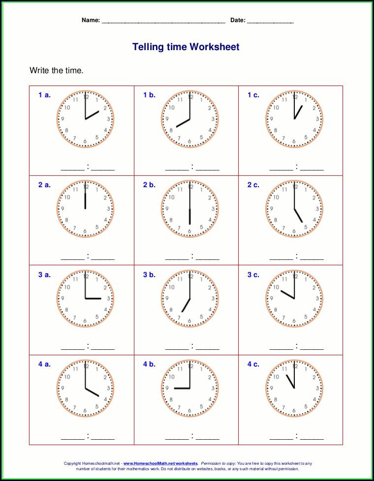 Kindergarten Telling Time Worksheets Pdf Free
